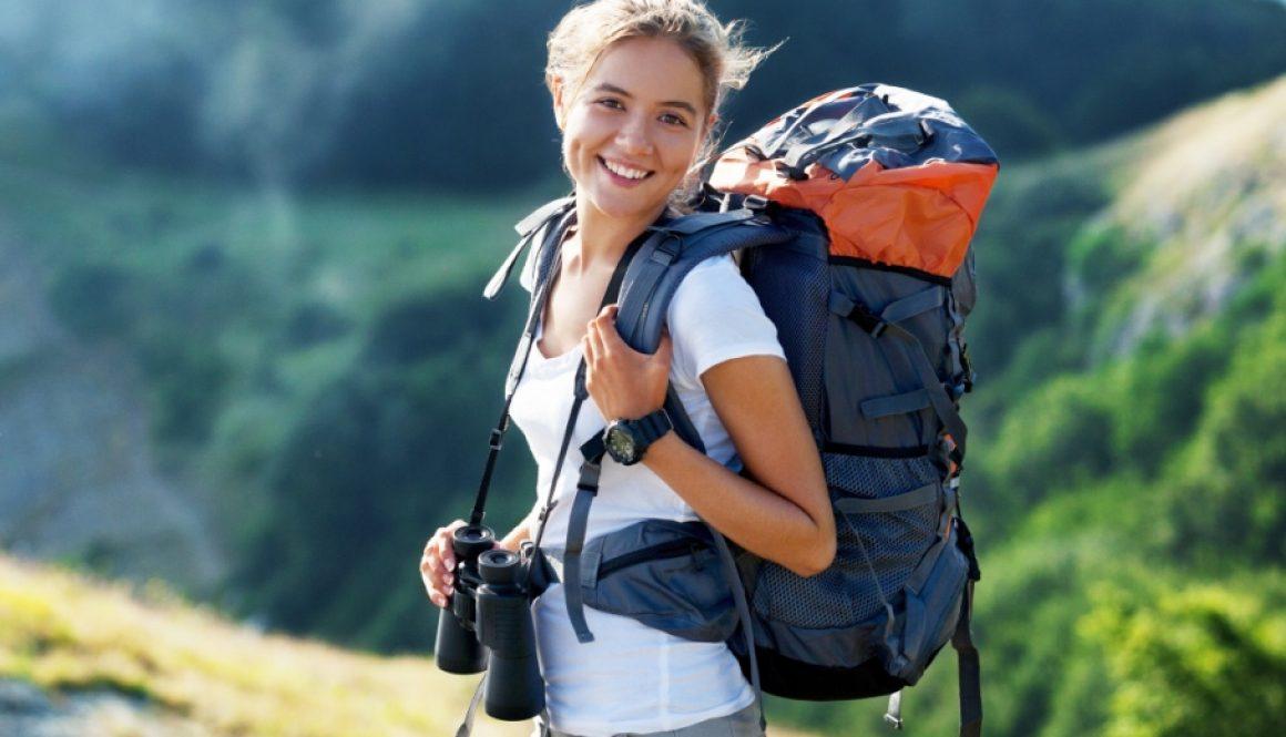 Female backpacker Stock Photo
